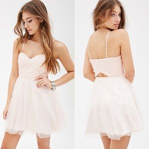 Forever 21 Floral Embroidered Tulle Dress